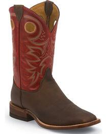 Justin Bent Rail Rough Rider Tobacco Cowboy Boots - Square Toe, , hi-res