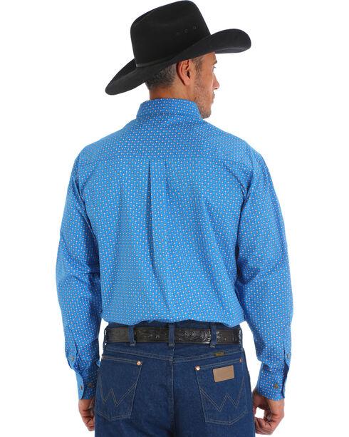 Wrangler Men's Printed Poplin Classic Button-Up Shirt , Blue, hi-res