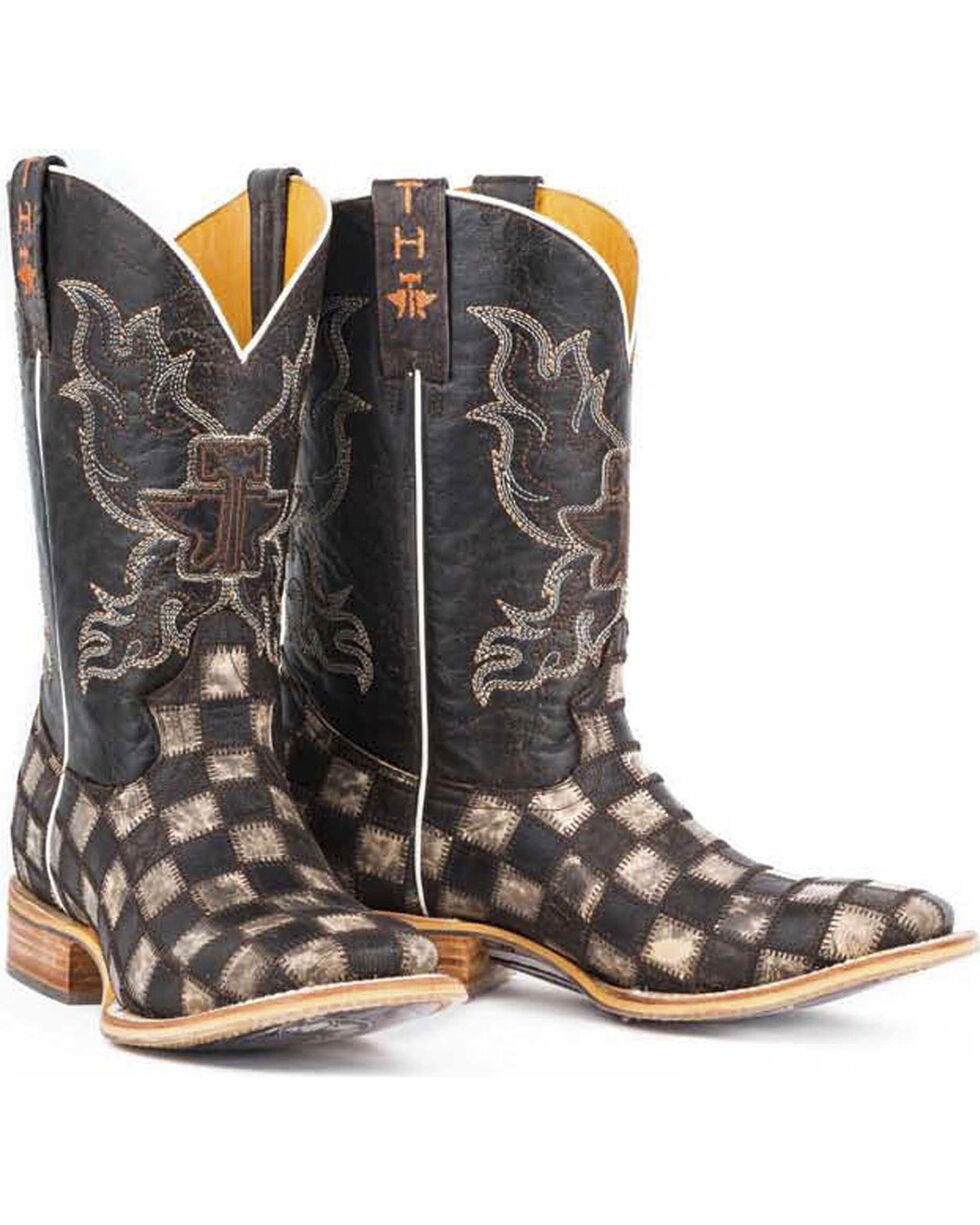 Tin Haul Men's Gun Metal Check Western Boots, Brown, hi-res
