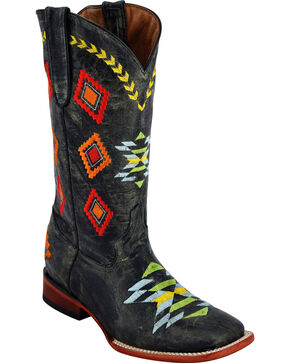 Ferrini Women's Arrowhead Black Cowgirl Boots - Square Toe, Black, hi-res
