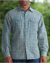 Ryan Michael Men's Aqua Vintage Dobby Plaid Shirt, , hi-res