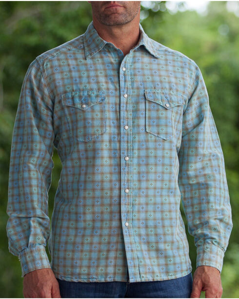 Ryan Michael Men's Aqua Vintage Dobby Plaid Shirt, Aqua, hi-res