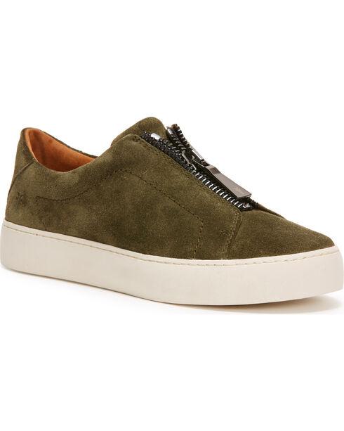 Frye Women's Dark Green Lena Zip Low Shoes - Round Toe, Dark Green, hi-res