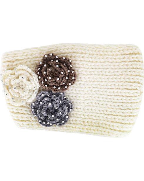 Shyanne® Women's Rhinestone Knitted Ear Warmer, Cream, hi-res