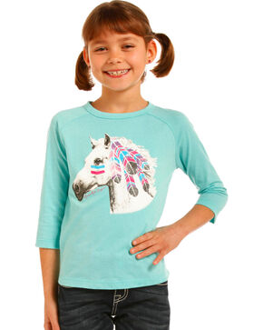 Rock & Roll Cowgirl Girls' War Pony Baseball Tee, Teal, hi-res