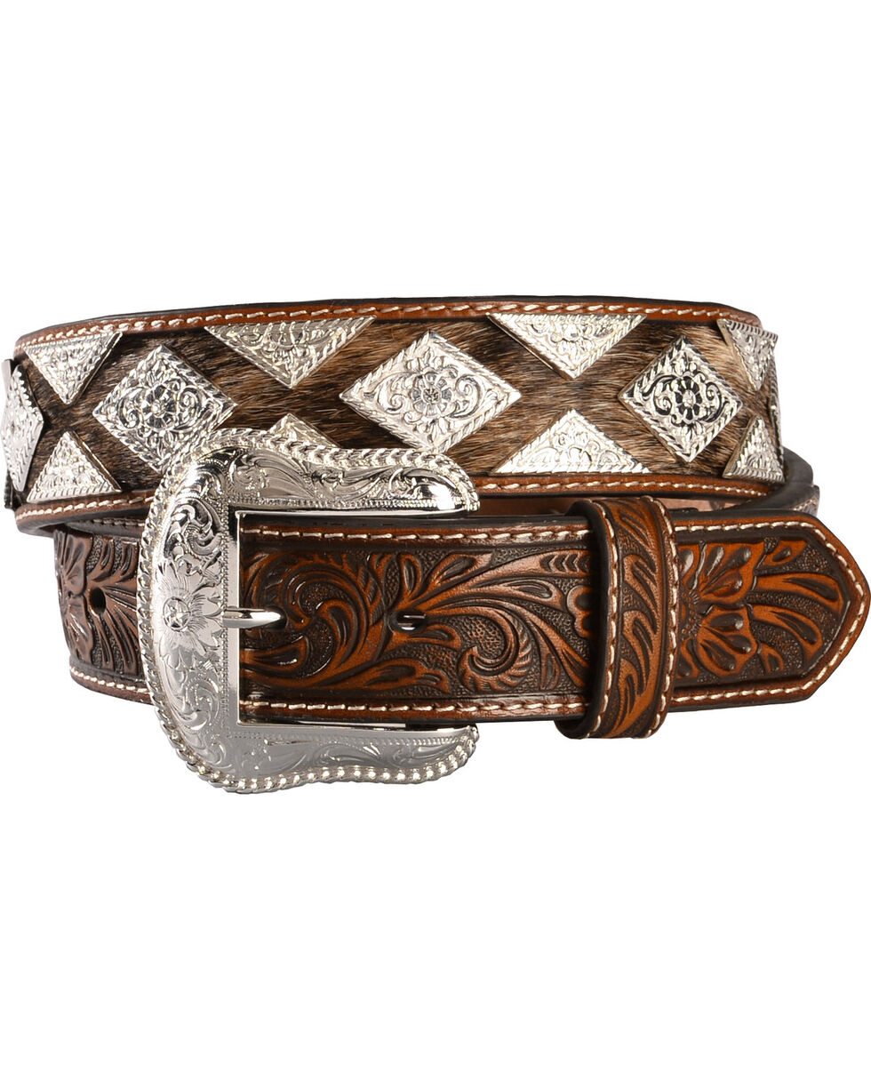 Nocona Pro Series Men's Hair-on Hide Concho Belt, Tan, hi-res