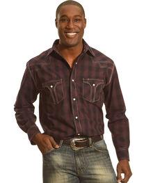 Crazy Cowboy Men's Dark Plaid Long Sleeve Shirt , , hi-res