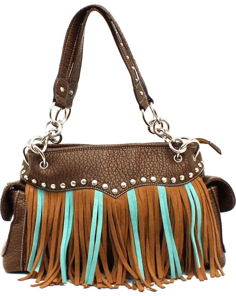 Blazin' Roxx Women's Turquoise & Brown Fringe Satchel, Brown, hi-res
