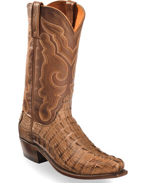 Lucchese Men's Tan Franklin Hornback Caiman Tail Boots - Square Toe , Tan, hi-res