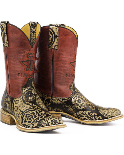 Tin Haul Women's Paisley Rocks Western Boots, Tan, hi-res