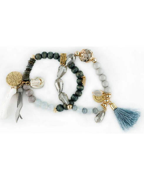Sincerely Mary Women's Gaia Beaded Tassel Bracelet, Grey, hi-res