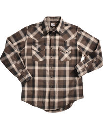Ely Cattleman Men's Brown Peached Plaid Shirt , , hi-res