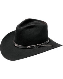 Master Hatters Men's Diamond Wool Felt Cowboy Hat, Black, hi-res