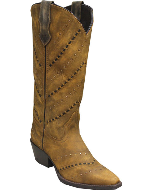 Rawhide by Abilene Hand Laced Western Boots - Snip Toe, Brown, hi-res