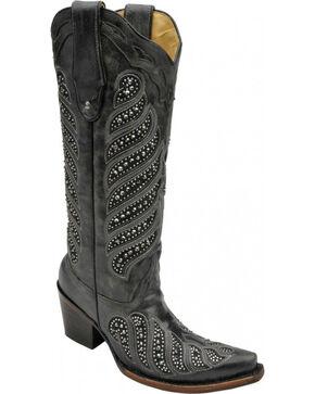 "Corral Women's 14"" Crystal Inlay Snip Toe Boots, Black, hi-res"