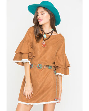 Ces Femme Women's Ruffle Sleeve Dress, Camel, hi-res
