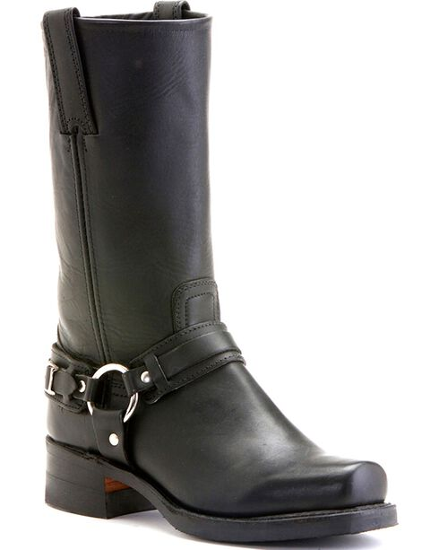"""Frye Women's Belted Harness 12"""" Motorcycle Boots, Black, hi-res"""