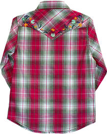 Cowgirl Hardware Girl's Floral Embroidered Plaid Long Sleeve Shirt, , hi-res