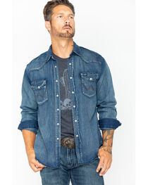Wrangler Cowboy Cut Men's Long Sleeve Denim Work Shirt, , hi-res