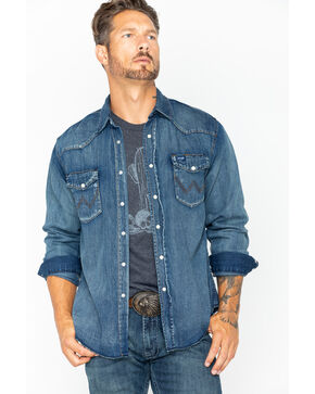 Wrangler Cowboy Cut Men's Long Sleeve Denim Work Shirt, Antique Blue, hi-res