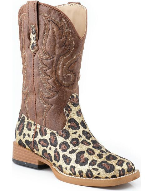 Roper Girls' Glittery Brown Leopard Print Cowgirl Boots - Square Toe, , hi-res