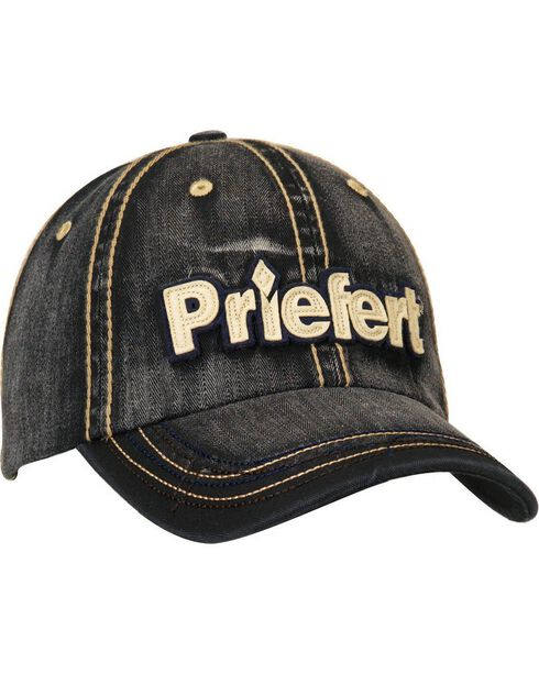 Priefert Faded Black Denim Casual Cap, Black, hi-res