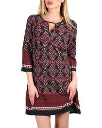 Luna Chix Women's Patterned Long Sleeve Dress, , hi-res