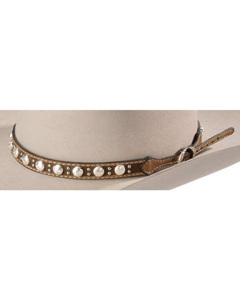 Leather Concho Studded Hat Band, Tan, hi-res
