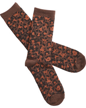 Shyanne Women's Leopard Print Crew Socks, Dark Brown, hi-res