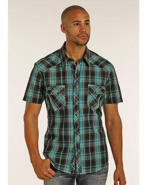 Rock & Roll Cowboy Men's Black Short Sleeve Plaid Shirt , Black, hi-res