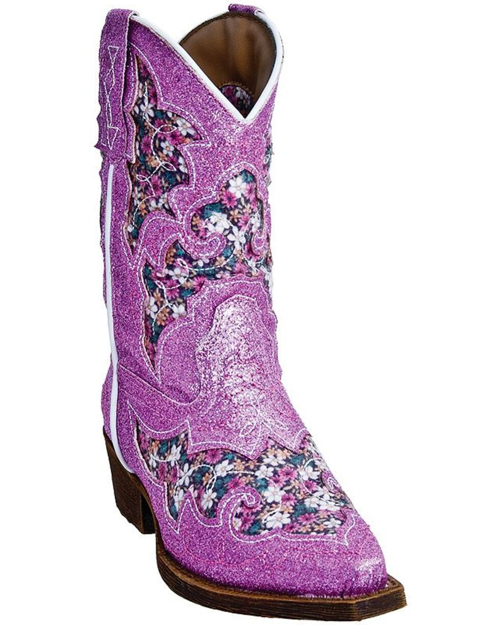 Laredo Kid's Floral Inlay Glitter Western Boots, Pink, hi-res