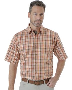 Wrangler Men's Rugged Wear Moisture Wicking Plaid Shirt , Orange, hi-res
