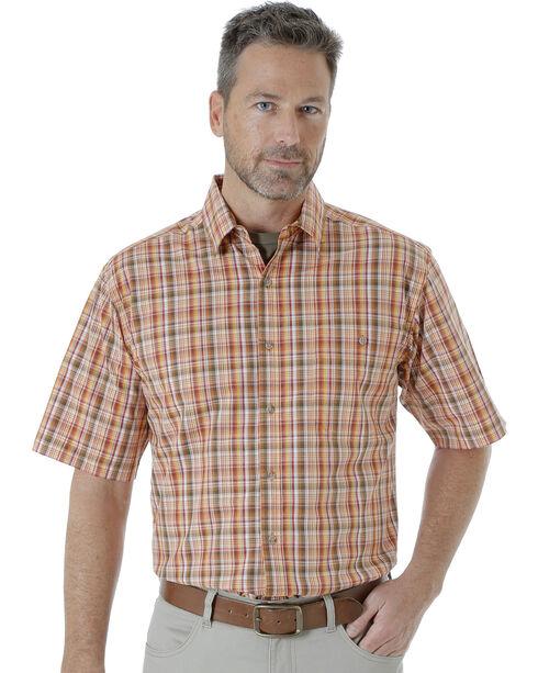 Wrangler Men's Rugged Wear Moisture Wicking Plaid Shirt , Orange, hi-res