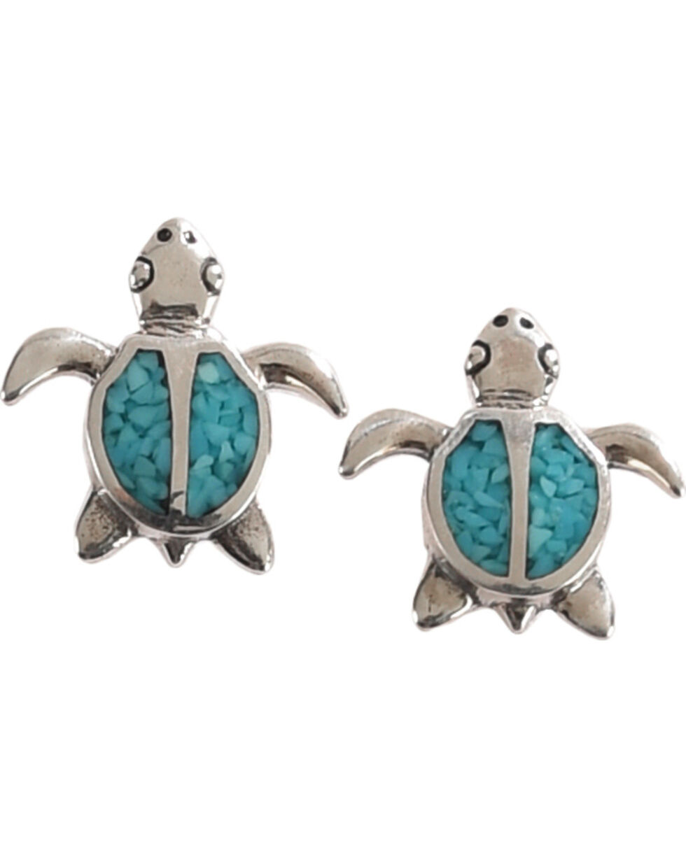 Silver Legends Women's Turquoise Turtle Post Earrings , Turquoise, hi-res