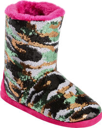 Blazin Roxx Girls' Sequin Camo Bootie Slippers, , hi-res