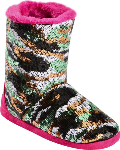 Blazin Roxx Girls' Sequin Camo Bootie Slippers, Hot Pink, hi-res
