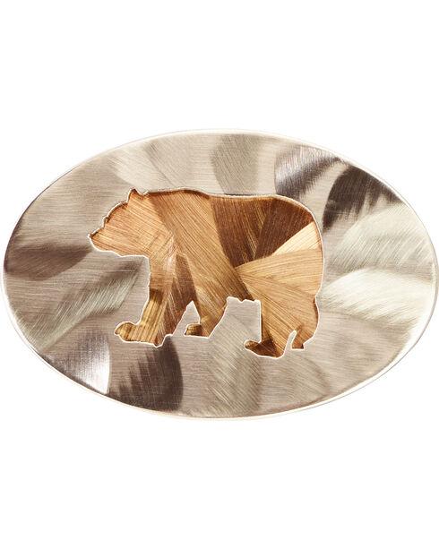 American Heritage Stainless Buckles Black Bear Belt Buckle, Silver, hi-res