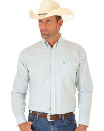Wrangler George Strait Green & White Dobby Stripe Western Shirt , , hi-res