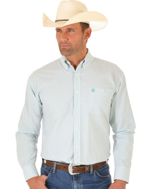 Wrangler George Strait Green & White Dobby Stripe Western Shirt , Multi, hi-res