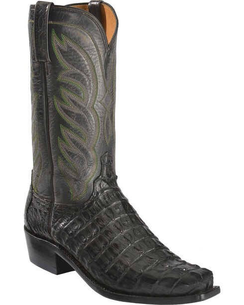 Lucchese Men's Exotic Hornback Caiman Landon Boots, Black, hi-res