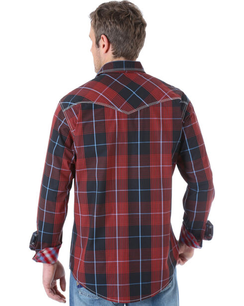 Wrangler Men's Contrast Plaid Long Sleeve Shirt, Red, hi-res