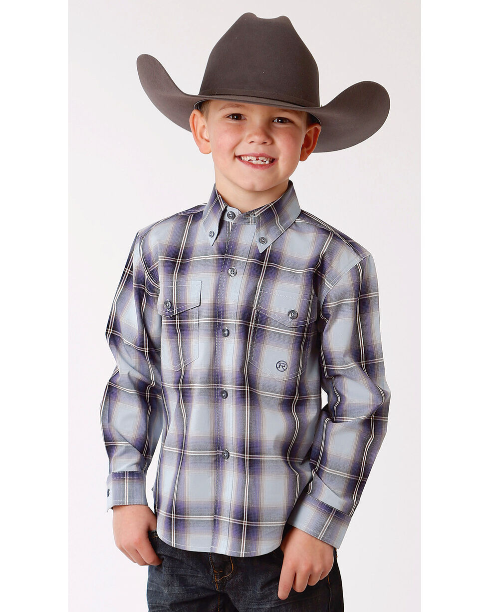 Roper Boys' Winter Plum Plaid Long Sleeve Button Down Shirt, Blue, hi-res