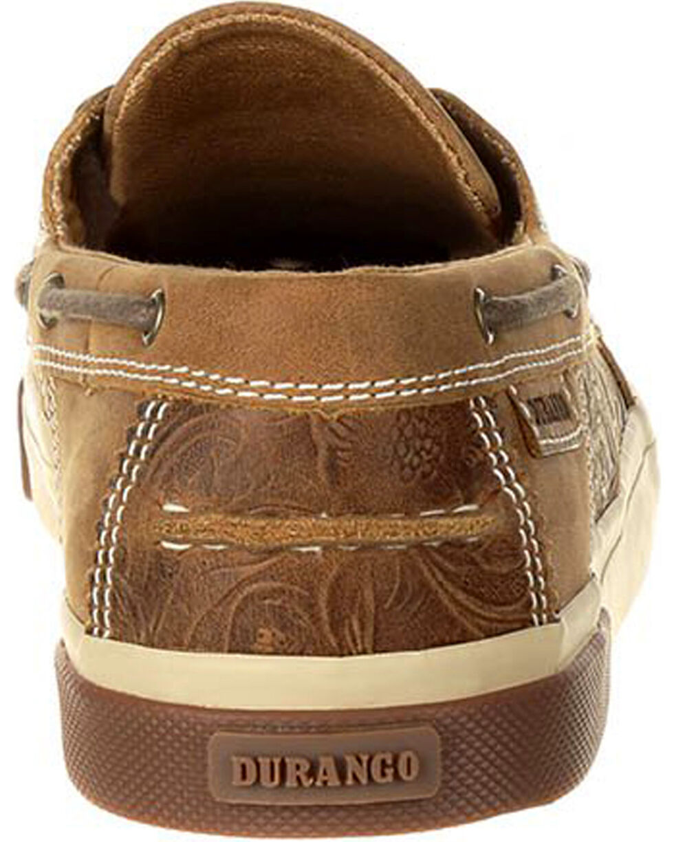 Durango Women's Brown Music City Embossed Boat Shoes , Brown, hi-res