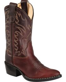 Old West Boys' Oiled Western Cowboy Boots - Pointed Toe, , hi-res