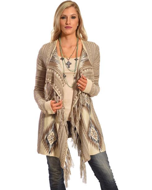 Shyanne® Women's Aztec Fringe Trim Sweater, , hi-res
