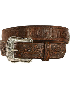 Ariat Men's Floral Embossed Overlay Large Concho Belt, Brown, hi-res