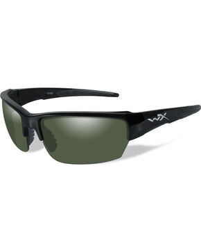 Wiley X Saint Polarized Smoke Green Gloss Black Sunglasses , Black, hi-res