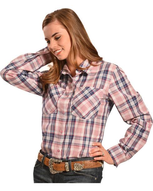 New Direction Sport Women's Plaid Western Shirt , Plaid, hi-res