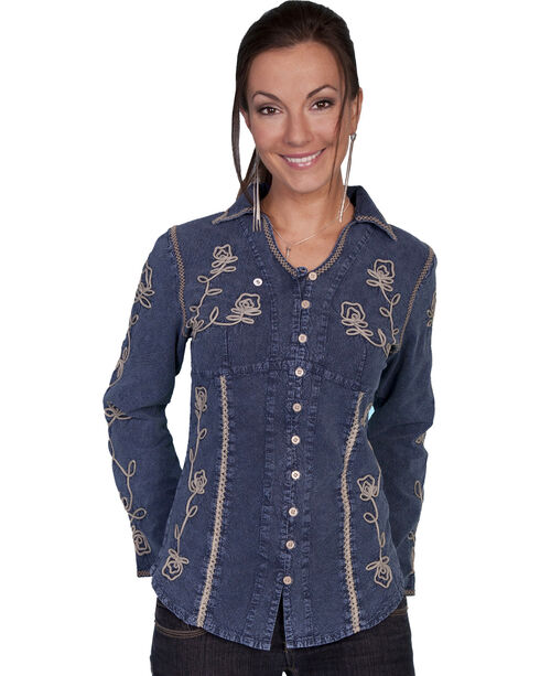 Scully Floral Embroidered Top, Dark Blue, hi-res