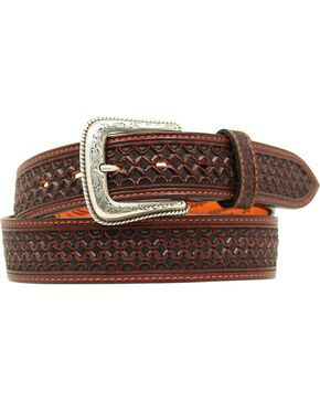 Nocona Fancy Tooled Basketweave Leather Belt, Brown, hi-res